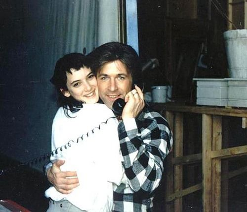 Winona and Alec on the set of Beetlejuice