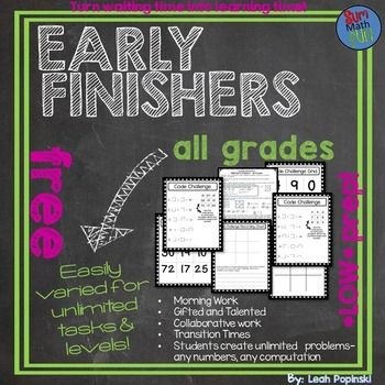 FREE Downloads: This free download for math early finishers and gifted is a life saver! The activity is easily differentiated for any computation, any level, and works for rational and irrational number. It is super easy to prepare. After a few examples, students create their own problems giving you an endless supply of new problems for your early finishers and gifted - with no prep on your part!