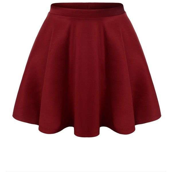 URBANCLEO Womens Solid Versatile A-Line Stretchy Flared Skater Skirt ($15) ❤ liked on Polyvore featuring skirts, bottoms, stretchy skirt, flared a line skirt, red stretch skirt, red flare skirt and flared skirt