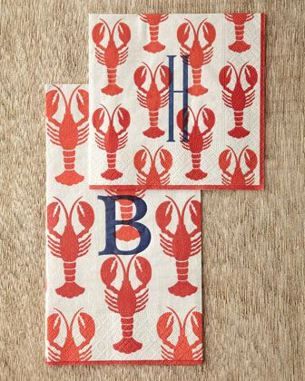 Lobster Cocktail #Napkins & Guest #Towels by Caspari at #Horchow.