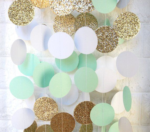 Mint Gold Ivory Paper Garland Bridal Shower Engagement