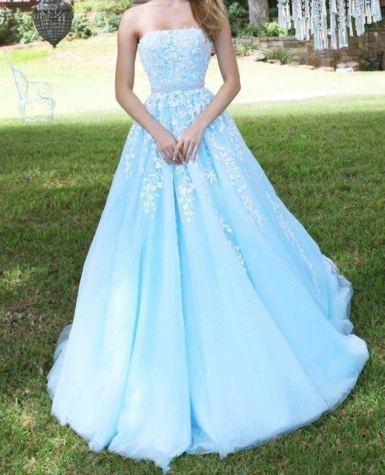 Light blue A-line lace long prom dress, lace evening ...