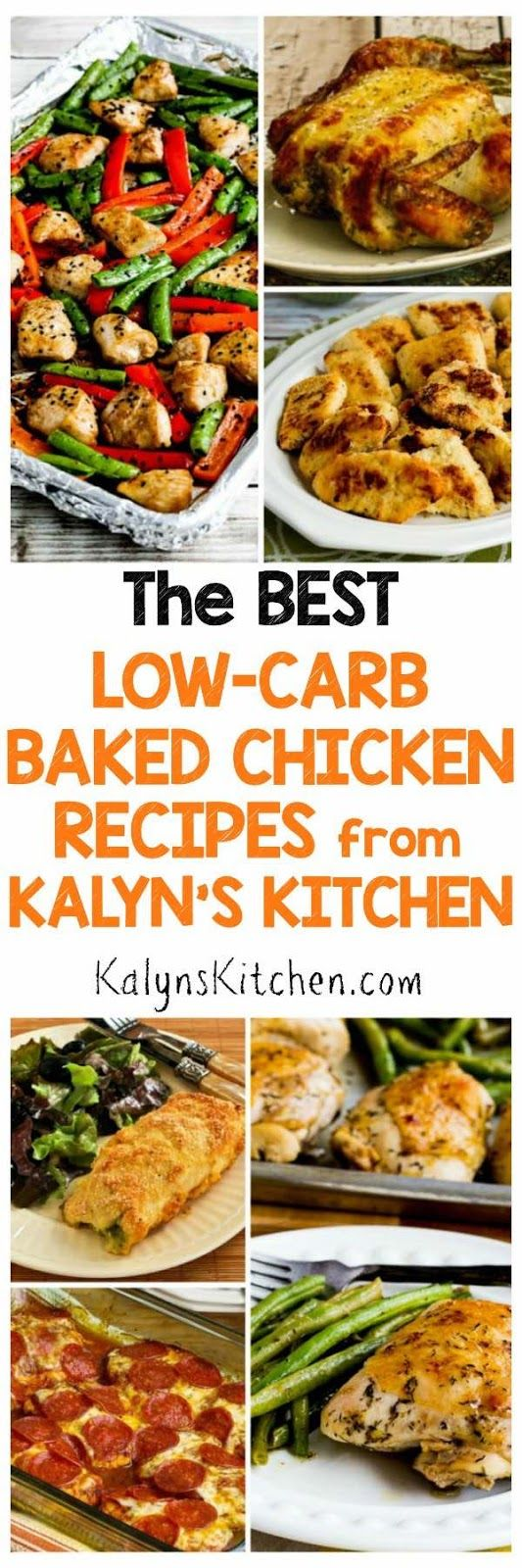 Everone needs a few great chicken dishes in their dinner rotation, and here are The BEST Low-Carb Baked Chicken Recipes from Kalyn's Kitchen. These recipes are all low-carb and gluten-free; most are Keto and South Beach Diet friendly as well. [featured for Low-Carb Recipe Love on KalynsKitchen.com]