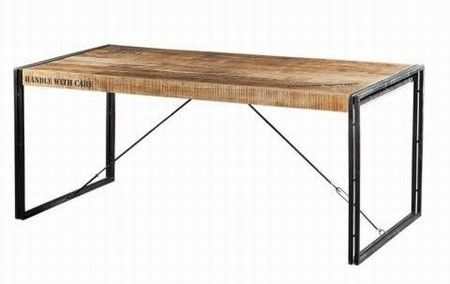 Eettafel 180 cm staal/oud hout.  Framewerk met u profiel en oude planken?