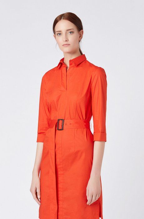 a5f8f8a58 Belted shirt dress in stretch cotton with point collar, Red | AW20 ...