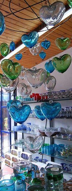 Coeurs en verre soufflé  - hearts glass
