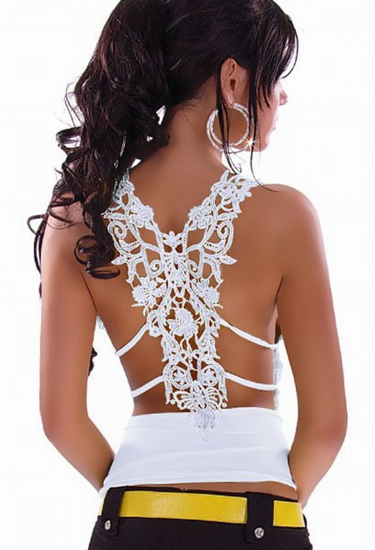 Ruffle Top with Sexy Lace Back For Embroidery, Item No.: L-235A, Color: White, Size: One Size, Price: $19.50
