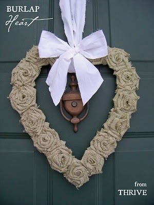 DIY Burlap Heart Wreath...made from a box, old shirt & burlap rosettes.