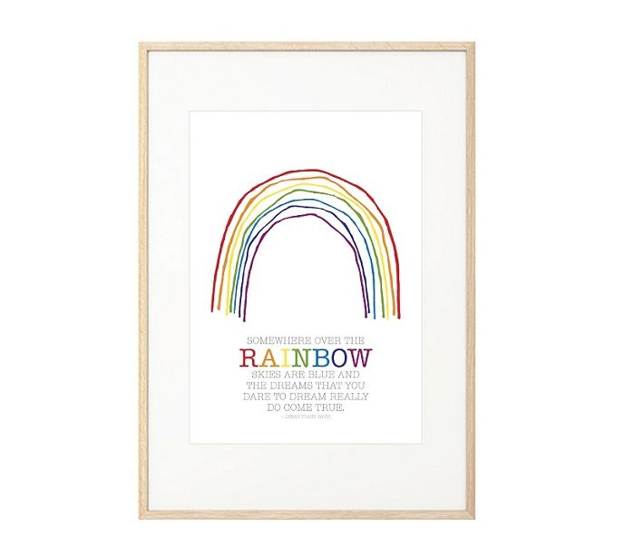 Somewhere Over The Rainbow print by May & Belle!  This gorgeous makes a stylish addition to any nursery, child's room or playroom - makes a stunning baby gift as well!  Printed on matt 200gsm archival, Forest Stewardship Council (FSC) paper at a high quality digital printer.  Fit perfectly into the IKEA RIBBA frames. Frame not included.  Size 30CM x 40CM