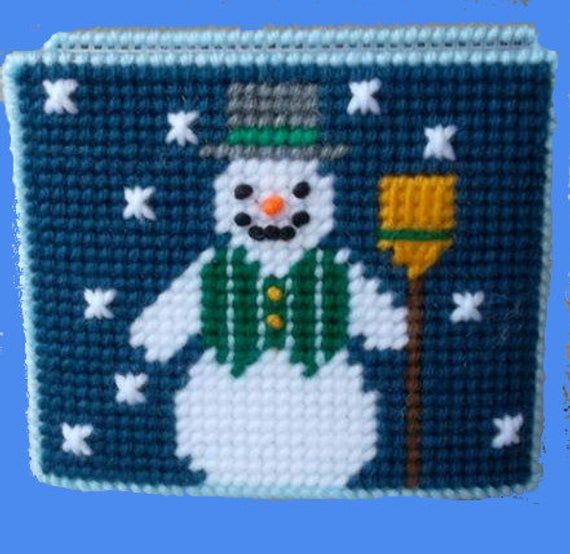 SNOWMAN Napkin Holder Set with Button Embellishments – Includes Napkins, Napkin Holder and two Inte