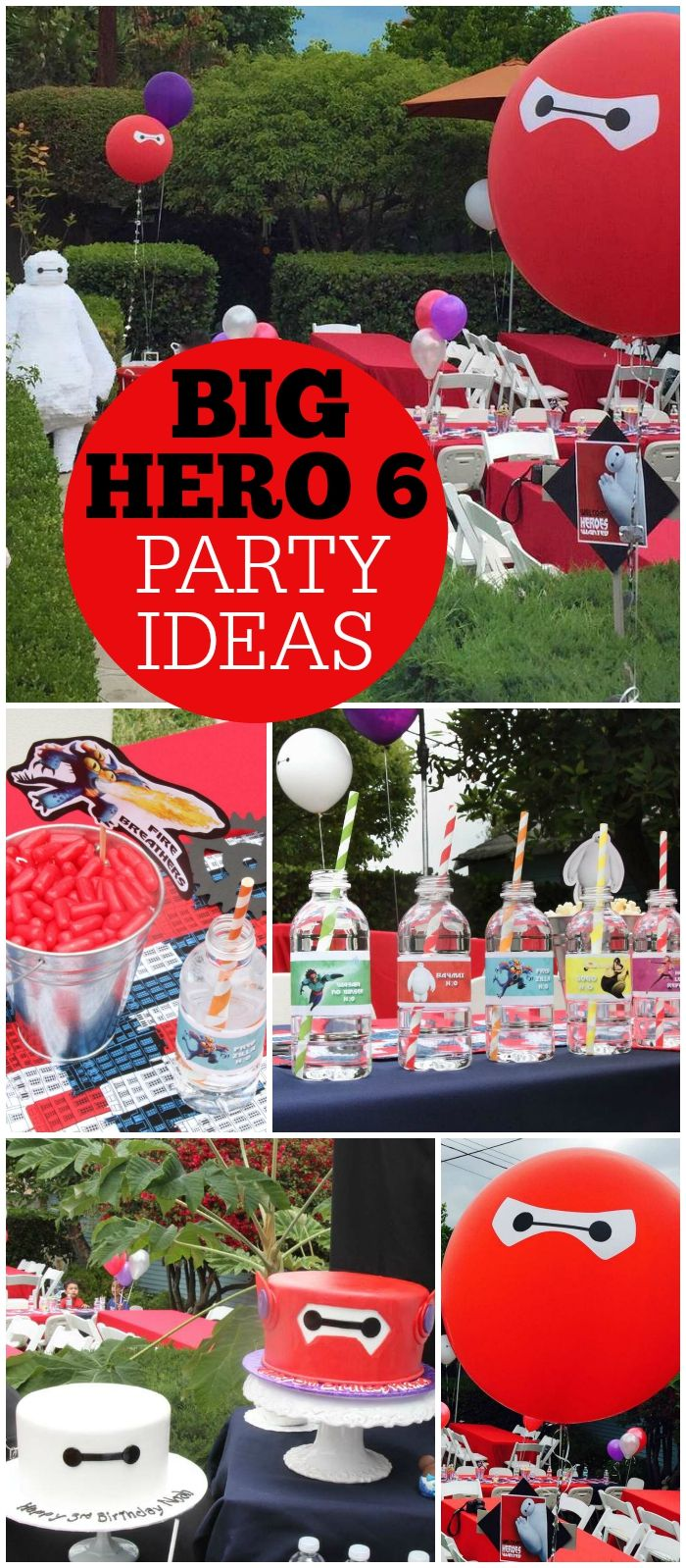 Baymax and all his friends show up at this Big Hero 6 party! See more party ideas at CatchMyParty.com!