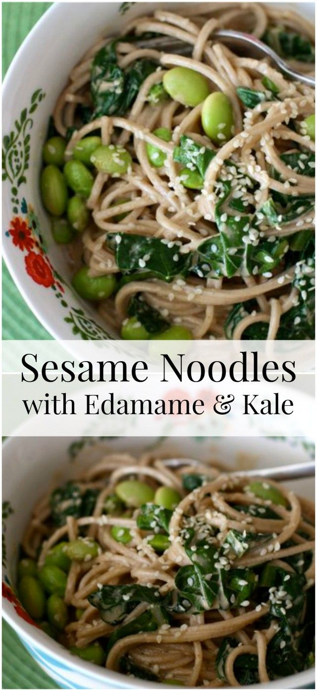 Sesame Noodles with Edamame and Kale - a light, but protein packed vegetarian dish your family will love.