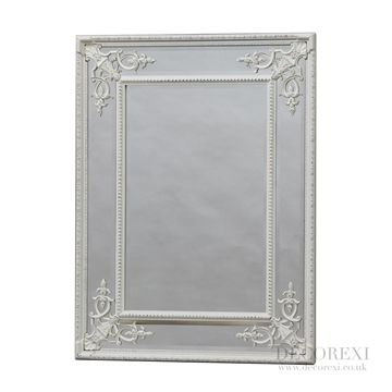 Antique White Square French Mirror