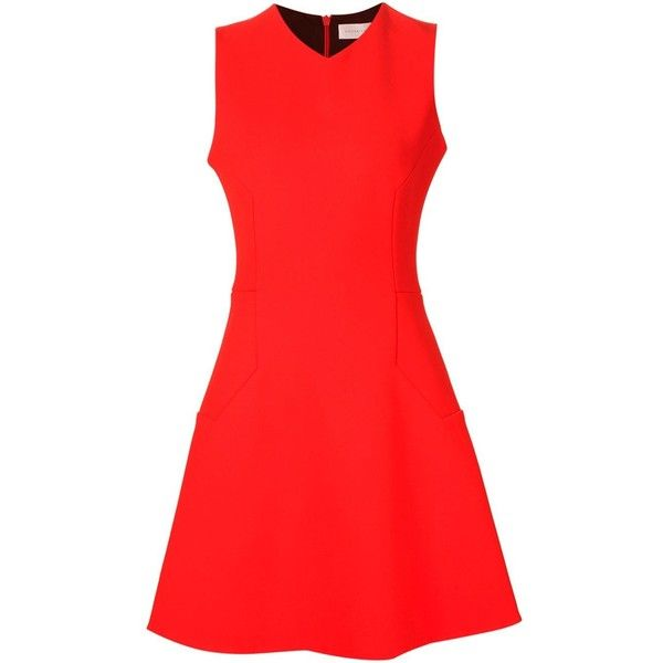 Victoria Beckham Hegaon Flare Mini Dress ($1,910) ❤ liked on Polyvore featuring dresses, red, flared dress, red sleeveless dress, short flare dress, mini dress and flare dress