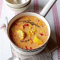 Jamaican spiced corn soup recipe  By Lucy Williams...This Jamaican flavoured soup is hot and spicy, but the creamy coconut milk tempers the fiery heat of the Scotch bonnet chilli. This is great to have stored in the freezer.