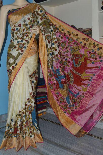 pen kalamkari saree Uppada silk kalamkari saree Beautiful half white with…