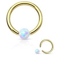 Wenkbrauw piercing ringetje gold plated opal steentje