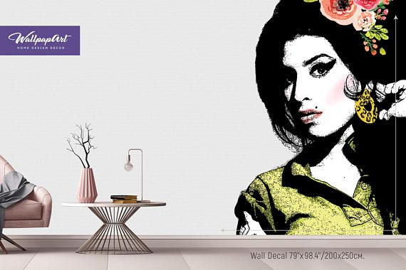 Amy Winehouse Wall Mural Removable Wall Decal Amy Winehouse Etsy Stick Wall Art Mural Removable Wall Murals