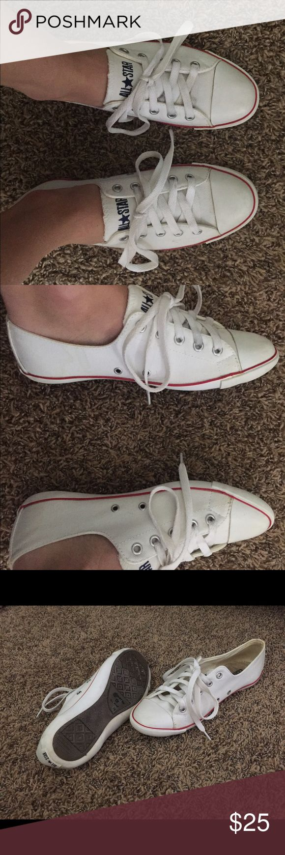 Converse slim sole Super cute & comfy, can be worn with anything! Gently worn but still in good condition. Few spots but the great thing about these sneakers are that they can be thrown in the washer machine. Converse Shoes Sneakers