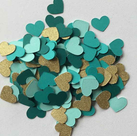 Confetti! Gorgeous Monochromatic Mix of Mint, Teal and Turquoise Hearts + Gold Glitter! | Rustic Summer or Fall Wedding or Bridal Shower