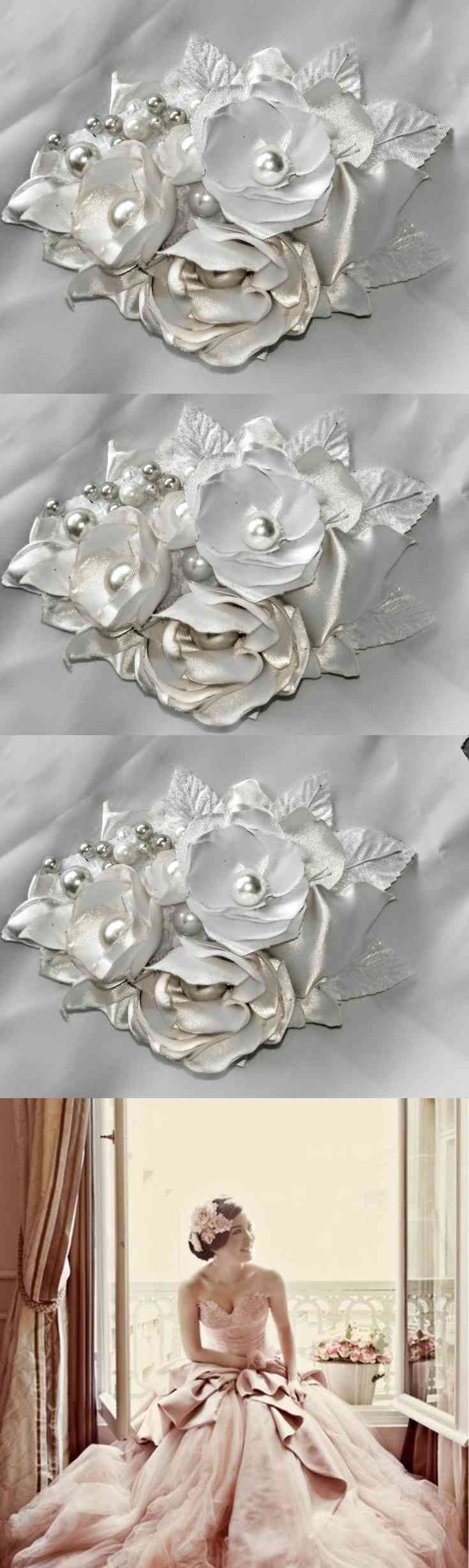 Wedding Hairpiece, hair accessory, Bridal Hair, Brides Hair Clip, Wedding Hair, Flower Hair Comb, Hair Clip, Bridal Hair Clips, Wedding Hair, Wedding Hair Clip Flowers all hand made each petal is cut into a leaf and molded into a flowers using  Silk Satin fabric with real some real Pearls and Embellishment Wedding Hair Piece for a Bride, Bridesmaids the size 6 in length (...) (via pushapin.com)
