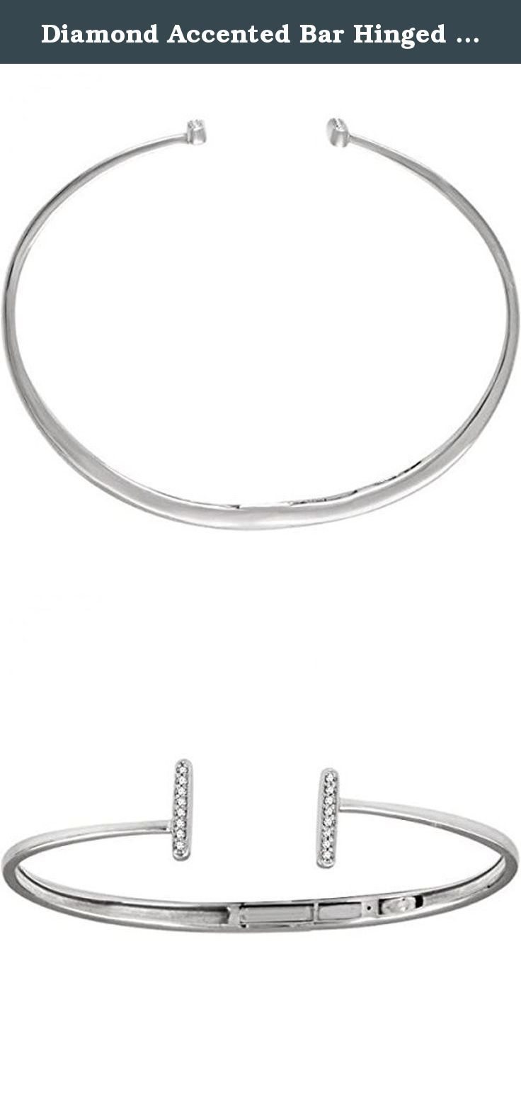 Diamond Accented Bar Hinged Cuff T Bracelet 14k White Gold (0.17ct). This T Shaped Bracelet gives you a whole new look with its classic, yet modern design. This bracelet is comprised of sixteen brilliant cut round diamonds totaling 1/6 ct accenting the 14k White Gold metal. This bracelet makes a perfect gift for any occasion due to its contemporary design. This T style bracelet is also available in alternative metal colors.