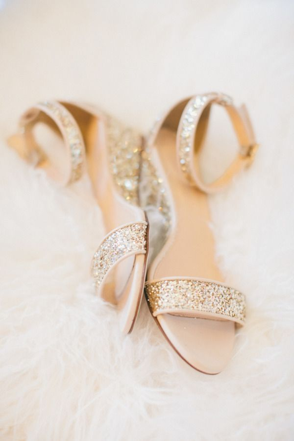 Gold glitter wedges.