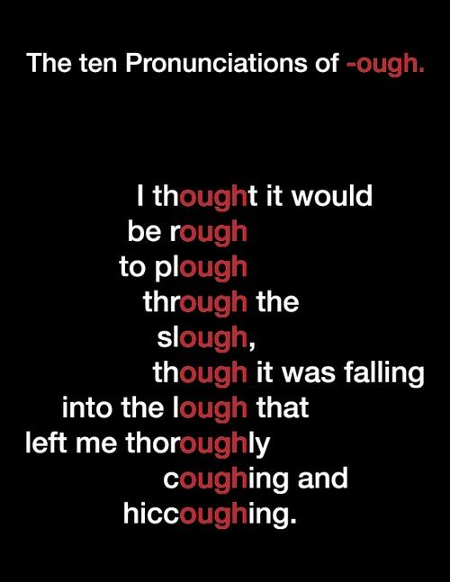 "Pronunciation of ""-ough"" (pronúncia de ""-ough"") #pronunciation #pronuncia #photo"