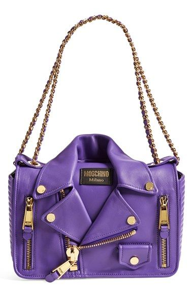 Free shipping and returns on Moschino 'Biker Jacket' Shoulder Bag at Nordstrom.com. The Moschino Motorcycle Jacket Bag—designed by Moschino's new creative director Jeremy Scott—signals the brand's new creative direction with its playful sense of humor and edgy literal interpretation of classic biker style. The pull-through chain-and-leather strap adjusts from double-handle to crossbody length for versatile styling options.