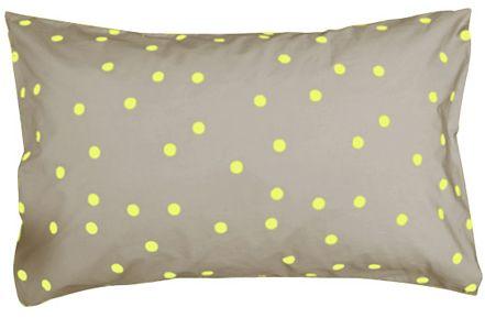 neon and neutral pillowcase in yellow: Pillows Cases, Polka Dots, Castles Pillowcases, Spots Pillowcases, Modern Beds, Beds Pillows, Dots Pillowcases, Dots Pillows, Random Spots