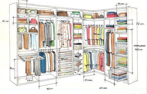 Medidas closet mary en 2019 interiores de armarios - Como organizar un armario empotrado pequeno ...