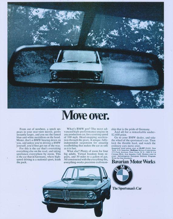 1968 BMW Car Ad Move Over Bavarian Motor Works by AdVintageCom