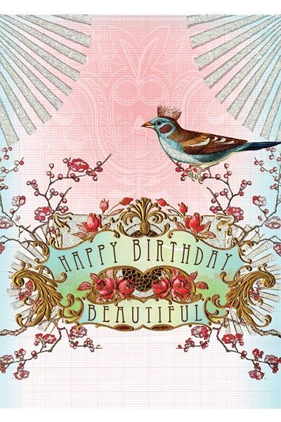 PAPAYA! Art Happy Birthday Beautiful 5x7 Card - Birthday - Occasions - SHOP