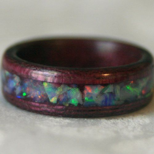 Crushed Gemstone For Inlays : Crushed stone inlay bent wood ring mnmwoodworks artfire