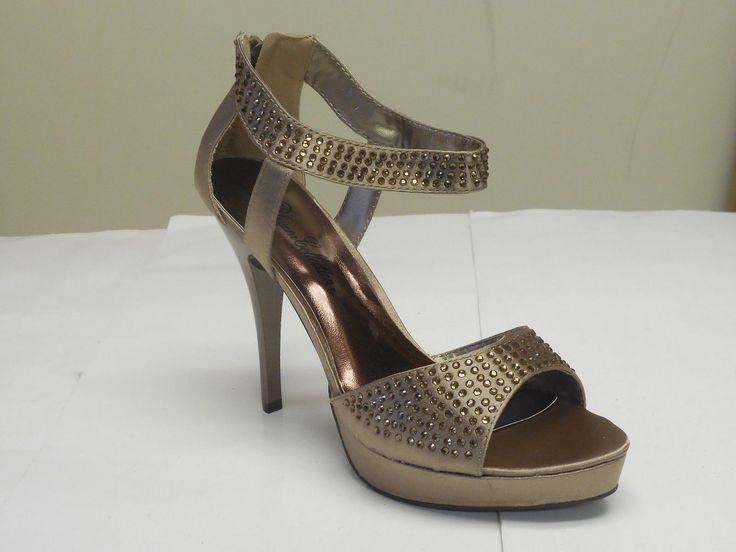 De Blossom Women's Eden-3 Nude Satin Zip Up Back Platform High Heel Shoes