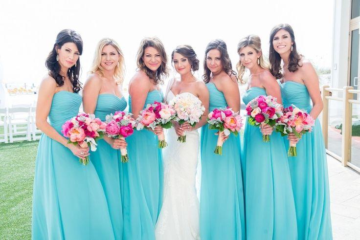 Bright Pink and Peach Wedding Bridesmaid Bouquet | Blue Green Bill Levkoff Bridesmaids Dresses