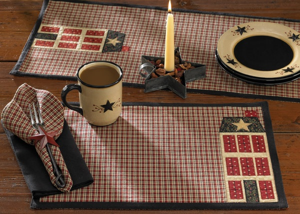 Home Place napkin, placemat & table runner shown with our Red Star napkin ring & casual classics black napkin. Part of the Home Place collection by Park Designs - www.parkdesigns.net