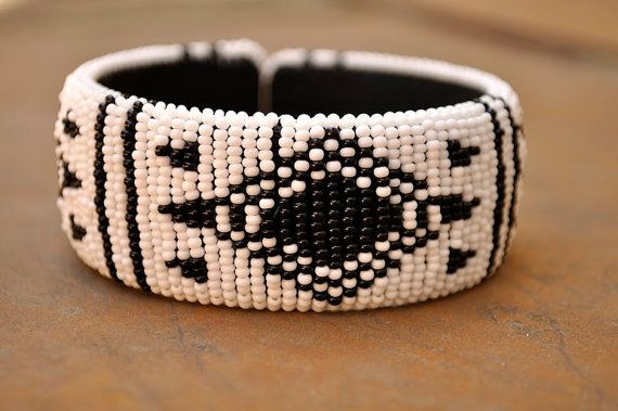 White African BangleBeaded Cuff bangleTribal by akwaabaAfrica