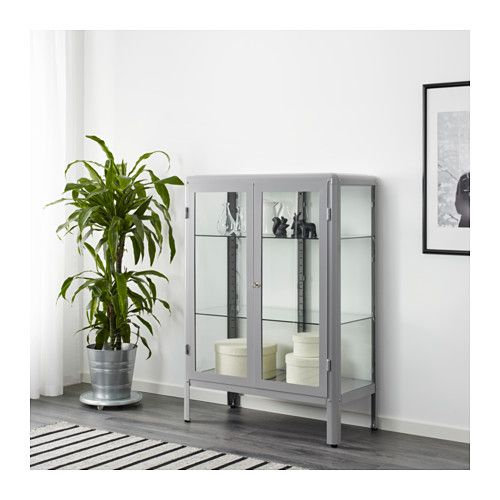 $169 Ikea FABRIKÖR Glass-door cabinet - gray  Reminds me of the Ft Carson MAIT barrister cabinets