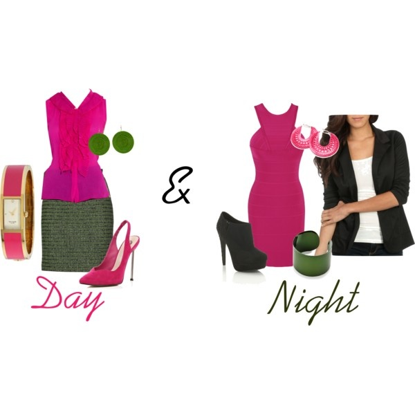 """""""Day and Night pink and green"""" by jackie-burruss-monaghan on PolyvoreThings Pink, Jackie Burruss Monaghan, Night Pink, Polyvore, Green Fashion"""