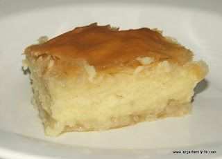 "Galaktoboureko is a Greek recipe which when translated, means ""Milk Pie"".  It has a custard center."