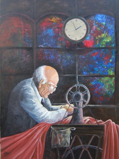The Tailor. Acrylics on stretched canvas. 30X40inches; 76X92cm. $350