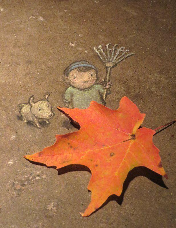 "David Zinn posted a photo on Tumblr -  ""We're gonna need a bigger rake."" 10/20/2014 http://restreet.altervista.org/le-divertenti-creature-di-david-zinn/"
