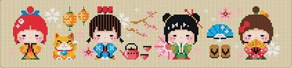 4  KOKESHI Traditional Japanese Doll Cross Stitch Pattern and Kit, counted cross stitch