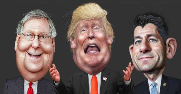 Caricatures of Senate Majority Leader Mitch McConnell, President Donald Trump, and House Speaker Paul Ryan. (Image: DonkeyHotey/flickr/cc)
