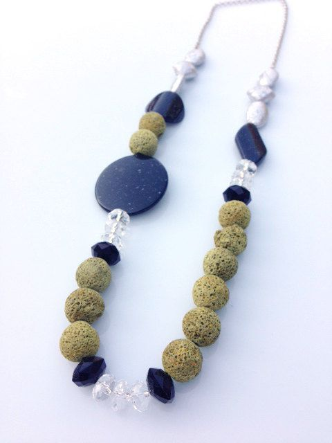 Dyed vulcan stone necklace by JewelleryByTanja on Etsy, $24.00