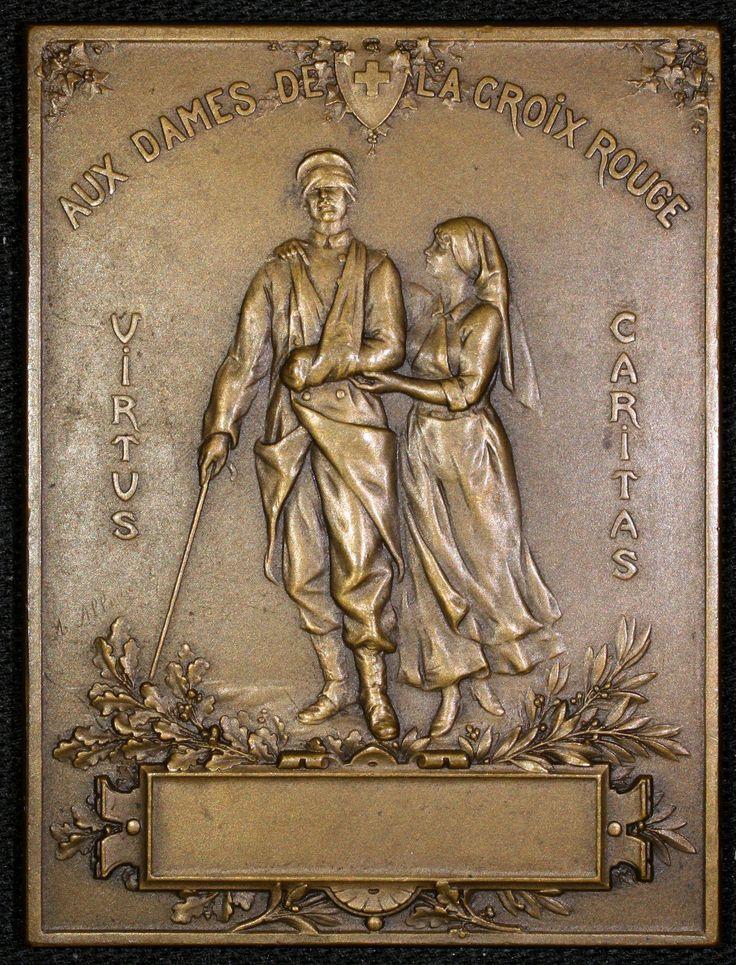 """Antique French Bronze Plaque """"Aux Dames de La Croix Rouge"""" 1916 Soldier Nurse   eBay"""