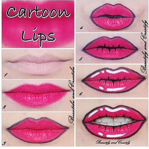 halloween diy -- easy cartoon lips done with stuff you probably have in your makeup bag.  this would be great to wear to work if you can't dress up