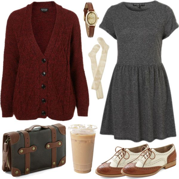 Grey babydoll dress, maroon sweater, oxfords,