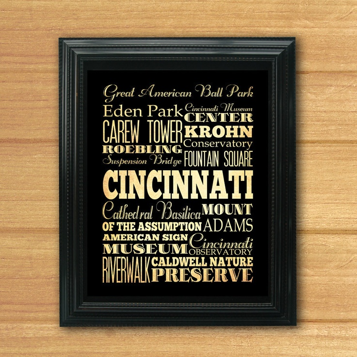 Check out this sweet Cincinnati, Ohio, Typography Art Poster that was just donated to Fall Fiesta! It's beautiful! www.cooperativeforeducation.org/fiesta